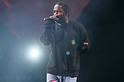 Photo of the rapper Kendrick Lamar performing live on stage at Global Citizen Festival in Central Park, NYC on September 24, 2016. © Matthew Eisman. All Rights Reserved