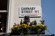 Street sign for the famous Carnaby Street W1, central London. Carnaby Street is a pedestrianised shopping street located in the Soho district. It is home to numerous fashion and lifestyle retailers, including a large number of independent fashion boutiques. In the 1960s Carnaby Street became one of the hip places to be in particular those following the Mod style.