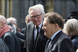 © Licensed to London News Pictures. 03/05/2016. LONDON, UK.  MICHAEL HESELTINE and NIGEL LAWSON leaving a service of Thanksgiving for the life and work of former Chancellor of the Exchequer, Rt Hon The Lord Geoffrey Howe of Aberavon CH PC QC at St Margaret's Church, Westminster Abbey.  Photo credit: Vickie Flores/LNP