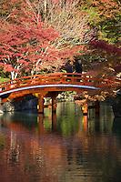 Daigoji Pond Bridge, Daigoji Temple Garden within Daigoji temple complex, a UNESCO world heritage site that includes many temple halls, structures and pagodas including Kyoto's oldest building.