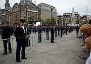 Guards in Dam Square, WW2 Remembrance Day Ceremony in Amsterdam May 4th 2009. The Dutch Queen Beatrix attended, under heavy security and sniper cover following an attempted attack on the Royal Family on Queens Day in Apeldoorn