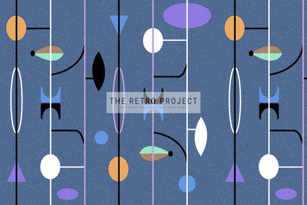 Mid Century Fifties Geometric Retro Pattern with dotscreen in blue