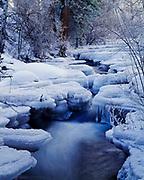 Winter ice surrounding Lee Vining Creek as it flows toward Mono Lake, Inyo National Forest, California.