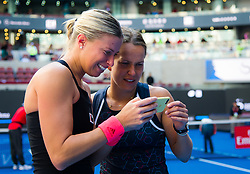 October 7, 2018 - Andrea Sestini Hlavackova & Barbora Strycova of the Czech Republic celebrate winning the doubles title at the 2018 China Open WTA Premier Mandatory tennis tournament (Credit Image: © AFP7 via ZUMA Wire)