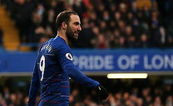 Chelsea's Gonzalo Higuain celebrates scoring his side's fourth goal of the game