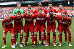 May 20, 2017 - Washington, DC, USA - 20170520 - The Chicago Fire starting 11 pose before an MLS match against D.C. United at RFK Stadium in Washington. Front row (L-R): Chicago Fire midfielder DAX MCCARTY (6), Chicago Fire forward NEMANJA NIKOLIC (23), Chicago Fire forward MICHAEL DE LEEUW (8), Chicago Fire midfielder MATT POLSTER (2), Chicago Fire midfielder DAVID ACCAM (11), Chicago Fire midfielder BASTIAN SCHWEINSTEIGER (31). Back row (L-R): Chicago Fire goalkeeper MATT LAMPSON (28), Chicago Fire defender JOHAN KAPPELHOF (4), Chicago Fire defender JOAO MEIRA (66), Chicago Fire midfielder LUIS SOLIGNAC (9), Chicago Fire defender BRANDON VINCENT (3) (Credit Image: © Chuck Myers via ZUMA Wire)