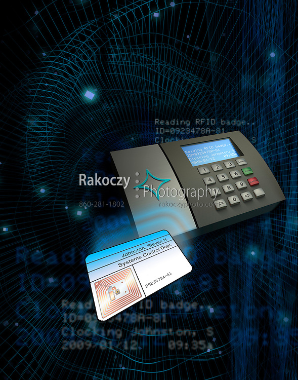 A 3D rendered depiction of RFID proximity sensing technology for badge / ID reading. A time clock logs in an employees badge. Space on the badge is provided for customizing the content.