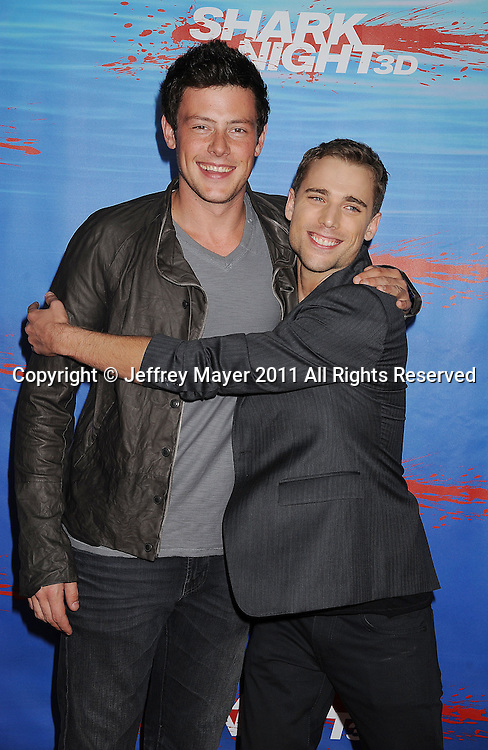 """UNIVERSAL CITY, CA - SEPTEMBER 01: Cory Monteith and Dustin Milligan arrive at the """"Shark Night 3D"""" Los Angeles Premiere held at Universal City Walk on September 1, 2011 in Universal City, California."""