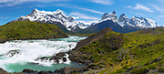 View of majestic Cuerno Principal and Torres del Paine National Park, Chile.