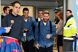 Lionel Messi and Luis Suarez of FC Barcelona arrive at Manchester Airport - Mandatory by-line: Matt McNulty/JMP - 31/10/2016 - FOOTBALL - Manchester Airport - Manchester, England - Manchester City v Barcelona - UEFA Champions League - Group C