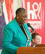 Dr. Rhea Lawson comments during the Read for the NCAA Final Four kick-off at Blackshear Elementary School, September 24, 2015.