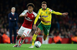 Reiss Nelson of Arsenal Battles for the ball with Josh Murphy of Norwich City  - Mandatory by-line: Alex James/JMP - 24/10/2017 - FOOTBALL - Emirates Stadium - London, England - Arsenal v Norwich City - Carabao Cup