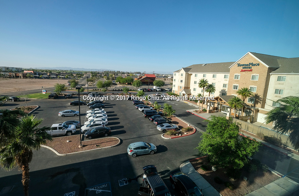 A view of shopping center in Calexico (the US and Mexico border), California on Wednesday April 19, 2017. (Xinhua/Zhao Hanrong)(Photo by Ringo Chiu/PHOTOFORMULA.com)<br /> <br /> Usage Notes: This content is intended for editorial use only. For other uses, additional clearances may be required.