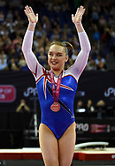 Amy Tinkler of Great Britain (GBR) wins the women's bronze medal  during the iPro Sport World Cup of Gymnastics 2017 at the O2 Arena, London, United Kingdom on 8 April 2017. Photo by Martin Cole.