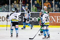 Gregor Baumgartner (EHC Liwest Linz, #79) scores a goal during ice-hockey match between HDD Tilia Olimpija and EHC Liwest Black Wings Linz at fourth match in Semifinal  of EBEL league, on March 13, 2012 at Hala Tivoli, Ljubljana, Slovenia. (Photo By Matic Klansek Velej / Sportida)