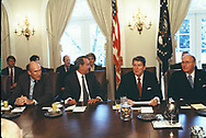 Washington, DC  1984/11/27<br />President Ronald Reagan meets with congressional leaders<br /><br />Photograph by Dennis Brack