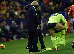December 16, 2018 - Valencia, Valencia, Spain - Leo Messi of FC Barcelona change his shorts during the La Liga match between Levante UD and FC Barcelona at Ciutat de Valencia Stadium on December 16, 2018 in Valencia, Spain. (Credit Image: © AFP7 via ZUMA Wire)