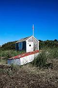 Beach shack and rowboat, Chatham, Cape Cod, MA, USA