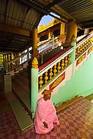 Buddhist nun, Hintha Gon Pagoda, Bago (Pegu), Myanmar (Burma)