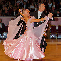 Mikhail Avdeev and Olga Blinova from Russia perform their dance during the professional ballroom competition of the International Championships held in Royal Albert Hall, London, United Kingdom. Thursday, 13. October 2011. ATTILA VOLGYI