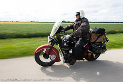 Tim McIntyre riding his 1948 Indian Chief in the Cross Country Chase motorcycle endurance run from Sault Sainte Marie, MI to Key West, FL (for vintage bikes from 1930-1948). Stage 3 from Milwaukee, WI to Urbana, IL. USA. Sunday, September 8, 2019. Photography ©2019 Michael Lichter.