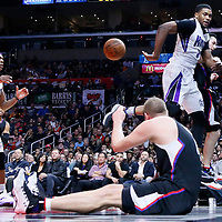 16 January 2016: Sacramento Kings forward Rudy Gay (8) passes the ball behind his back to Sacramento Kings guard Rajon Rondo (9) during the Sacramento Kings 110-103 victory over the Los Angeles Clippers, at the Staples Center, Los Angeles, California, USA.