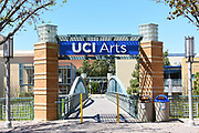 IRVINE, CALIFORNIA - 16 APRIL 2020: The path leading to the UCI Arts college at the University of California Irvine