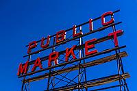 Public Market neon sign at the Pike Place Market, Seattle, Washington USA.