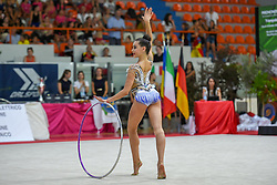 July 28, 2018 - Chieti, Abruzzo, Italy - Junior Rhythmic gymnast Eva Swahili Gherardi of Italy performs her hoop routine during the Rhythmic Gymnastics pre World Championship Italy-Ukraine-Germany at Palatricalle on 29th of July 2018 in Chieti Italy. (Credit Image: © Franco Romano/NurPhoto via ZUMA Press)