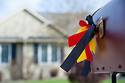 Memorial ribbon for Diren Dede, a German exchange student, on a mailbox across the street from the home of Markus Kaarma on May 2, 2014, in the Grant Creek neighborhood of Missoula, Montana. Kaarma is accused of shooting and killing Dede in his garage on April 27, 2014.