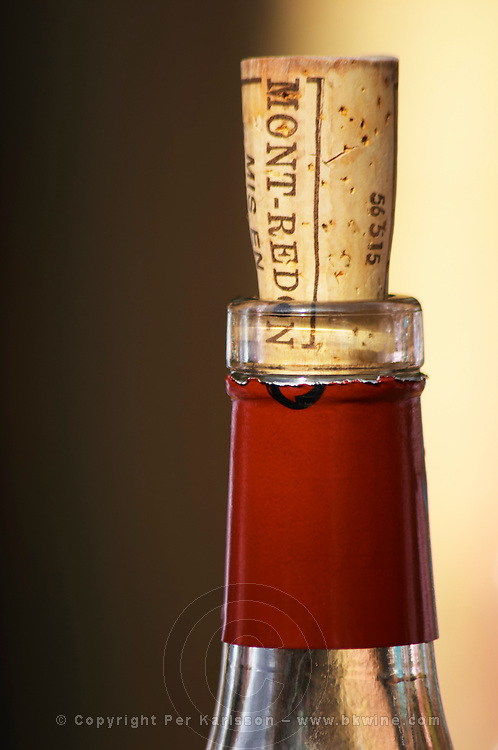 A bottle neck with a cork to re-close it Mont-Redon. The restaurant Le Verger de Papes in Chateauneuf-du-Pape Vaucluse, Provence, France, Europe