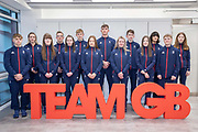 14 of the 28 athletes to represent Great Britain at the Lausanne 2020 Youth Olympic Games on the 13th December 2019 at the BOA British Olympic Association in London in the United Kingdom. Featuring left to right: Mackenzie Stewart, Charlotte Longden, Robyn Mitchell, Scott Johns, Hannah Farries, Jamie Rankin, Amy Robery, William Scammell, Mirren Foy, Ross Craik, Abby Rowbotham, Evan Nauth, Carter Hamill, Jessie Taylor. The Youth Olympic Games are an international Olympic sporting event for athletes aged 15 to 18 to be held in Switzerland in 2020.