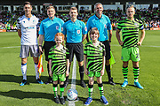 Mascots and captains during the EFL Sky Bet League 2 match between Forest Green Rovers and Colchester United at the New Lawn, Forest Green, United Kingdom on 14 September 2019.