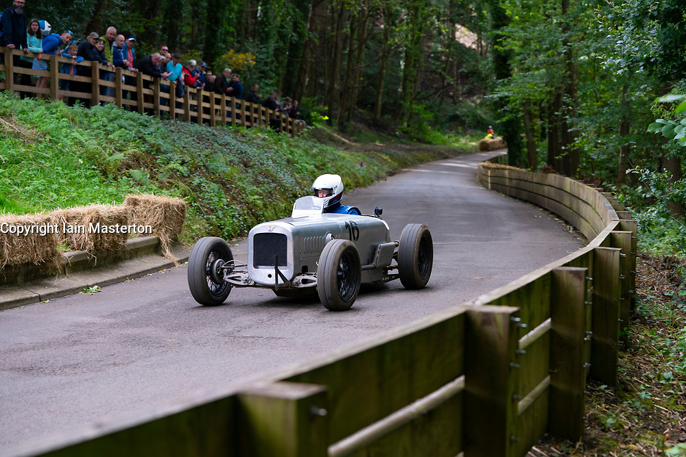 Boness Revival hillclimb motorsport event in Boness, Scotland, UK. The 2019 Bo'ness Revival Classic and Hillclimb, Scotland's first purpose-built motorsport venue, it marked 60 years since double Formula 1 World Champion Jim Clark competed here.  It took place Saturday 31 August and Sunday 1 September 2019. 16 Paul Neil-MacLachlan Austin Seven 1938