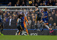 Football - 2018 / 2019 Premier League - Chelsea vs. Leicester City<br /> <br /> Harry Maguire (Leicester City) clears in fronty of David Luiz (Chelsea FC) at Stamford Bridge <br /> <br /> COLORSPORT/DANIEL BEARHAM