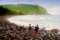 Waipio or Waipi`o Beach, Big Island, Hawaii, Pacific Ocean