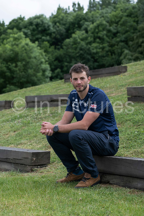 Ryan Westley at Lee Valley White Water Centre with Team GBs Canoe Slalom Team on the 7th June 2019 in London in the United Kingdom. Ryan Westley is a men's C1 slalom canoeist 2018 European C1 Champion.