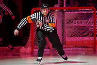 KELOWNA, BC - FEBRUARY 7: Referee Steve Papp enters the ice at the Kelowna Rockets against the Portland Winterhawks at Prospera Place on February 7, 2020 in Kelowna, Canada. (Photo by Marissa Baecker/Shoot the Breeze)