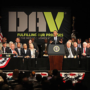 President Barack Obama delivers remarks at the Disabled American Veterans  National Convention at the Orlando Hilton Ballroom in Orlando, Florida on Saturday, August 10, 2013. (AP Photo/Alex Menendez)