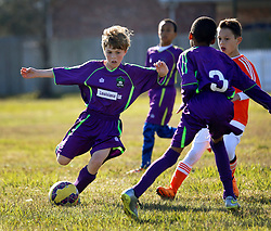 24 January 2016. Houma, Louisiana. <br /> New Orleans Jesters Youth Academy U10 Purple vs Lafourche Legacy U11's. Jesters win 7-0.<br /> Photo©; Charlie Varley/varleypix.com