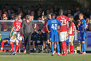 Charlton Athletic manager Lee Bowyer red card, sent off during the EFL Sky Bet League 1 match between AFC Wimbledon and Charlton Athletic at the Cherry Red Records Stadium, Kingston, England on 23 February 2019.