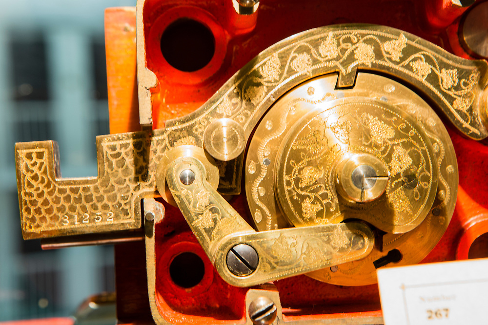An elaborate combination lock in the John M. Mossman Lock Collection at the General Society of Mechanics & Tradesmen of the City of New York.
