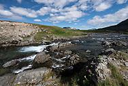 Sockeye Salmon gather below some short falls along a backcountry stream in the Katmai Wilderness