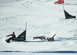 Gloria Kotnik (SLO) falling during Qualification Run in Men's Parallel Giant Slalom of FIS Snowboard World Cup Rogla 2017, on January 28, 2017 at Course Jasa, Rogla, Slovenia. Photo by Vid Ponikvar / Sportida