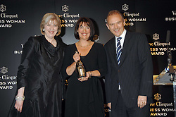 Left to right, THERESA MAY MP, CAROLYN McCALL Chief Executive of the Guardian Media Group winner of the Veuve Clicquot Business Woman Award and GRAHAM BOYES MD of Veuve Clicquot UKat the Veuve Clicquot Business Woman Award held at The Berkeley Hotel, London on 8th April 2008.<br />