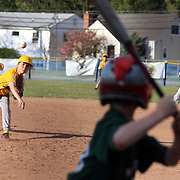 A young batter faces a pitchers during the Norwalk Little League baseball competition at Broad River Fields,  Norwalk, Connecticut. USA. Photo Tim Clayton