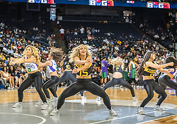 July 6, 2018 - Oakland, CA, U.S. - OAKLAND, CA - JULY 06: The BIG3 Dance team performs a routine during halftime of game 4 in week three of the BIG3 3-on-3 basketball league on Friday, July 6, 2018 at the Oracle Arena in Oakland, CA (Photo by Douglas Stringer/Icon Sportswire) (Credit Image: © Douglas Stringer/Icon SMI via ZUMA Press)