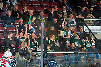 KELOWNA, CANADA - FEBRUARY 23: Fans celebrate a goal at the Kelowna Rockets against the Seattle Thunderbirds  on February 23, 2018 at Prospera Place in Kelowna, British Columbia, Canada.  (Photo by Marissa Baecker/Shoot the Breeze)  *** Local Caption ***