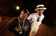 September 7, 2003; ATLANTA, GA. Dre (with white hat and overalls) and Big Boi nake up the group OutKast.  Photographed at  Stankonia Studios in Atlanta.
