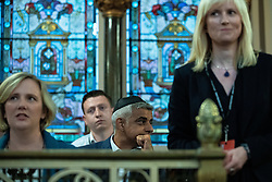 © Licensed to London News Pictures . 22/09/2019. Brighton, UK. STELLA CREASY , SADIQ KHAN and ROSIE DUFFIELD at a fringe event by the Jewish Labour Movement at middle Street Brighton Synagogue, during the second day of the 2019 Labour Party Conference from the Brighton Centre . Photo credit: Joel Goodman/LNP